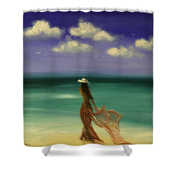 Shower Curtains - Lady in Red Shower Curtain by Gina De Gorna