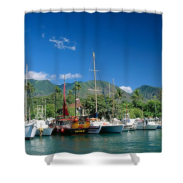 Lahaina Harbor - Maui Shower Curtain by William Waterfall - Printscapes