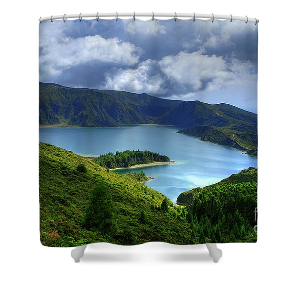 Lake in the Azores Shower Curtain by Gaspar Avila