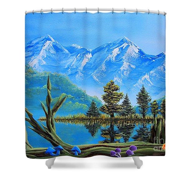 Lake Matheson Mushrooms Shower Curtain by Joshua Bales