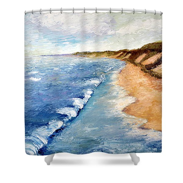 Lake Michigan with Whitecaps ll Shower Curtain by Michelle Calkins