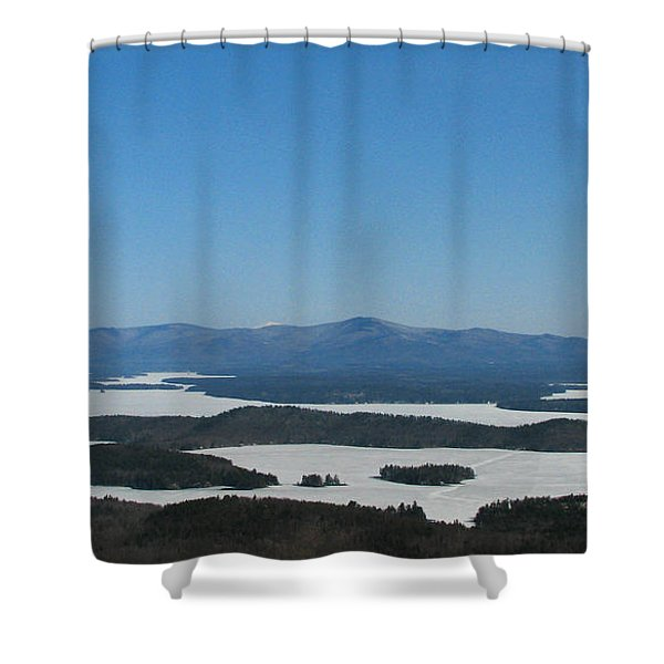 Lake Winnipesaukee view from Mt. Major Shower Curtain by Michael Mooney