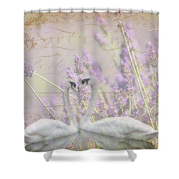Lavender Swans Zen  Love Shower Curtain by ArtyZen Studios