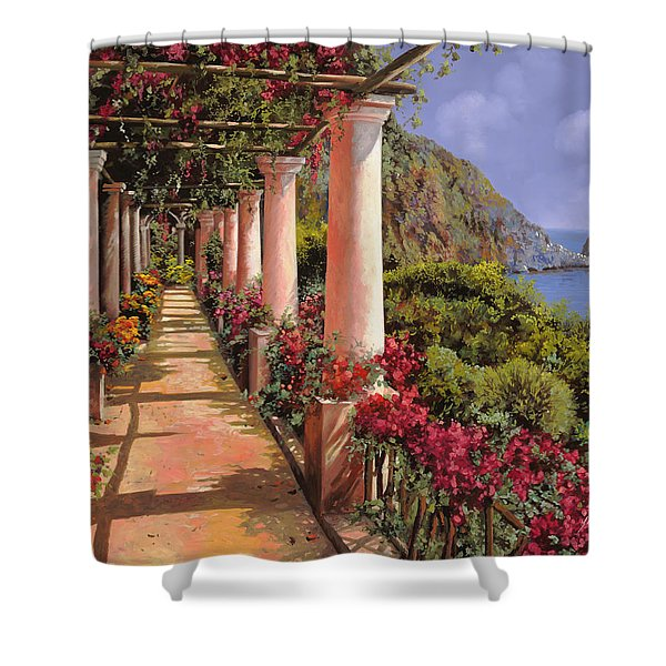 le colonne e la buganville Shower Curtain by Guido Borelli