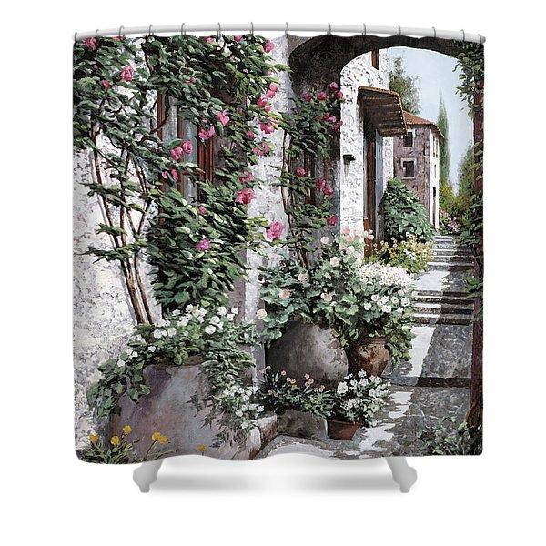le rose rampicanti Shower Curtain by Guido Borelli