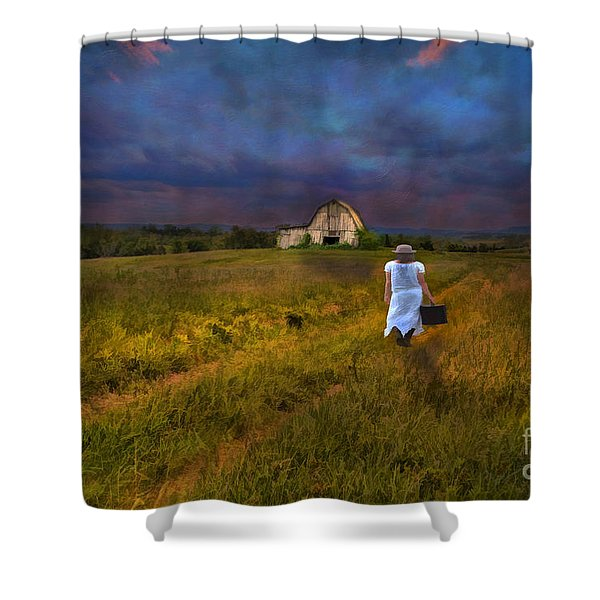 Leaving Shower Curtain by Darren Fisher