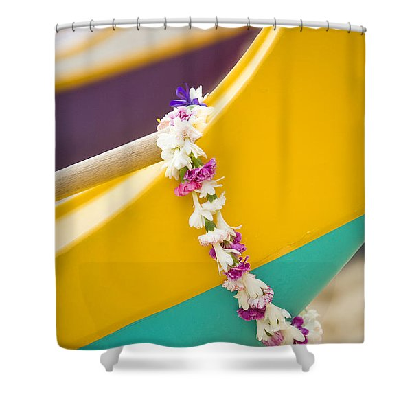 Lei draped over outrigger Shower Curtain by Dana Edmunds - Printscapes