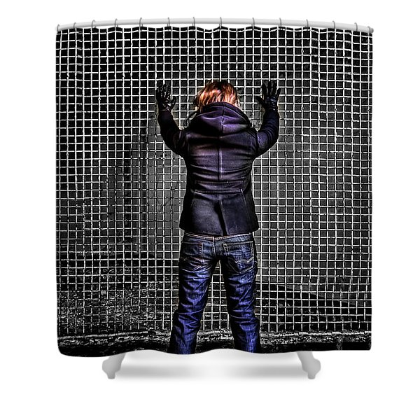 Let Your Wall Fall Down Shower Curtain by Evelina Kremsdorf