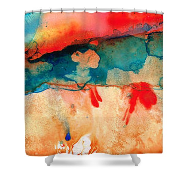 Life Eternal Red And Green Abstract Shower Curtain by Sharon Cummings