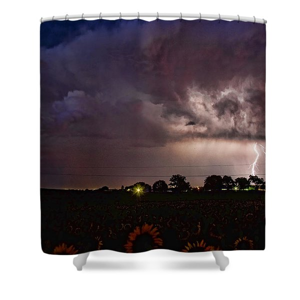 Lightning Stormy Weather Of Sunflowers Shower Curtain by James BO  Insogna