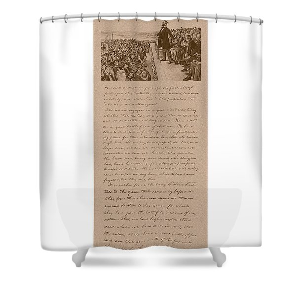 Lincoln and The Gettysburg Address Shower Curtain by War Is Hell Store