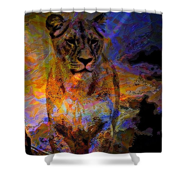 Lion On The Mesa Shower Curtain by WBK