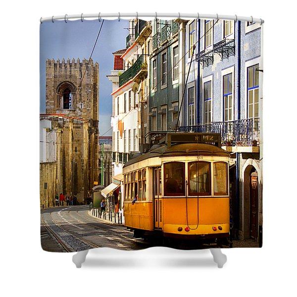 Lisbon Tram Shower Curtain by Carlos Caetano