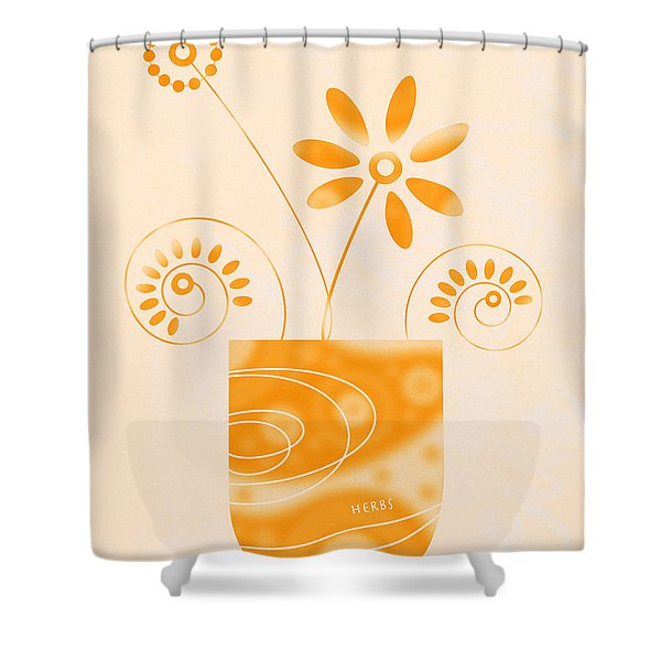 - Little Herb Garden Shower Curtain by Frank Tschakert