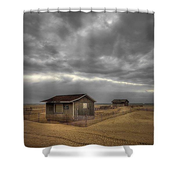 Lonely Beach Shacks Shower Curtain by Evelina Kremsdorf