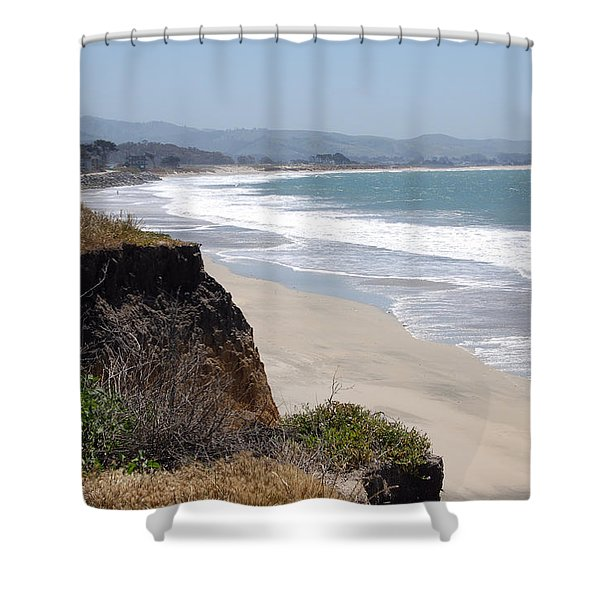 Looking Back At Half Moon Bay From The North Shower Curtain by Carolyn Donnell
