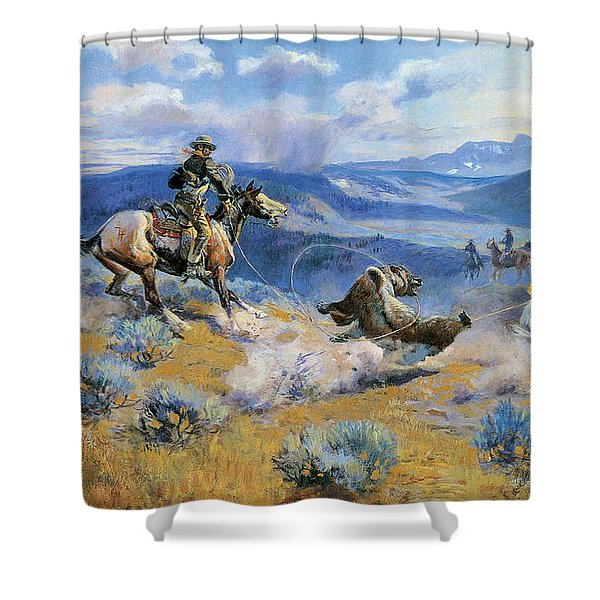 Loops And Swift Horses Are Surer Than Lead Shower Curtain by Charles Russell