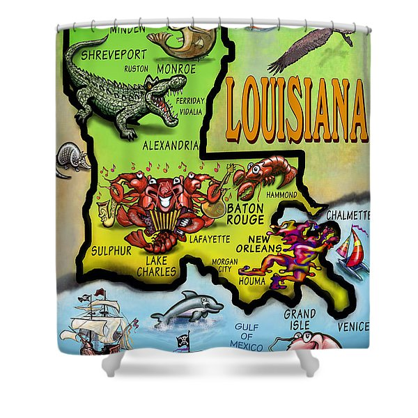 Louisiana Cartoon Map Shower Curtain by Kevin Middleton