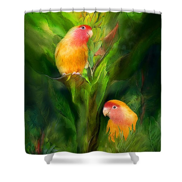 Love Among The Bananas Shower Curtain by Carol Cavalaris