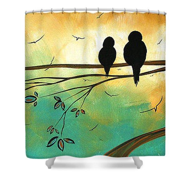 Love Birds By Madart Shower Curtain by Megan Duncanson