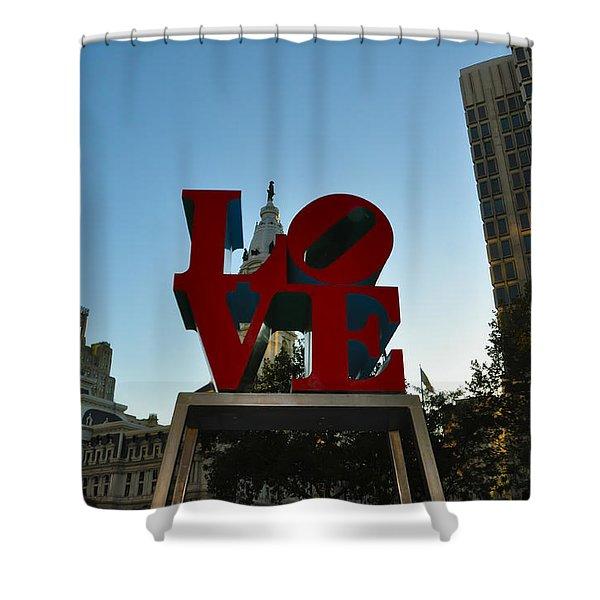 Love Park in Philadelphia Shower Curtain by Bill Cannon