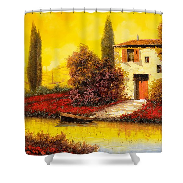 lungo il fiume tra i papaveri Shower Curtain by Guido Borelli