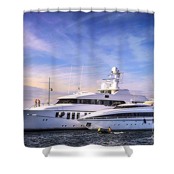 Luxury yachts Shower Curtain by Elena Elisseeva