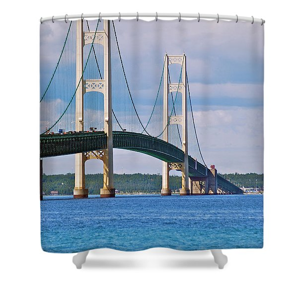 Mackinac Bridge Shower Curtain by Michael Peychich