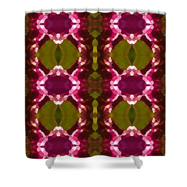 Magenta Crystal Pattern Shower Curtain by Amy Vangsgard
