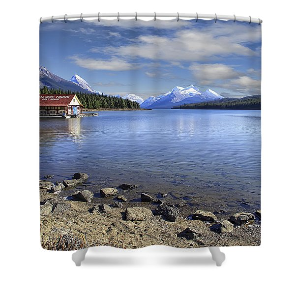 Maligne Lake -- Jasper Alberta Canada Shower Curtain by Daniel Hagerman