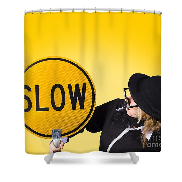 Man Holding Slow Sign During Adverse Conditions Shower Curtain by Ryan Jorgensen