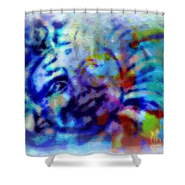 Man In The Moon Shower Curtain by WBK