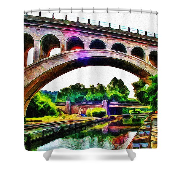 Manayunk Canal and Bridge Shower Curtain by Bill Cannon
