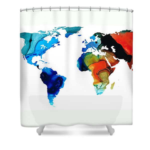 Map of The World 3 -Colorful Abstract Art Shower Curtain by Sharon Cummings
