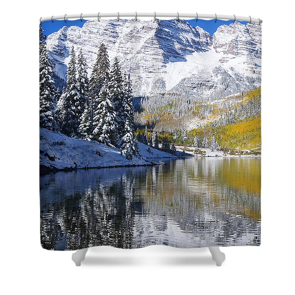 Maroon Lake And Bells 2 Shower Curtain by Ron Dahlquist - Printscapes