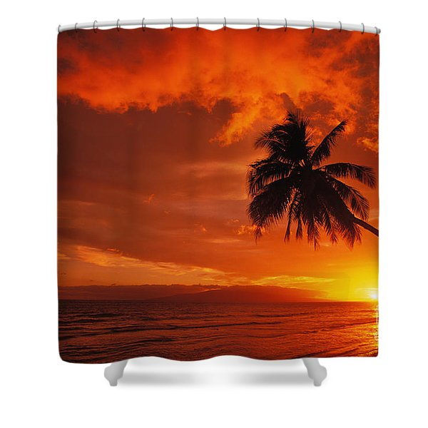 Maui, A Beautiful Sunset Shower Curtain by Ron Dahlquist - Printscapes