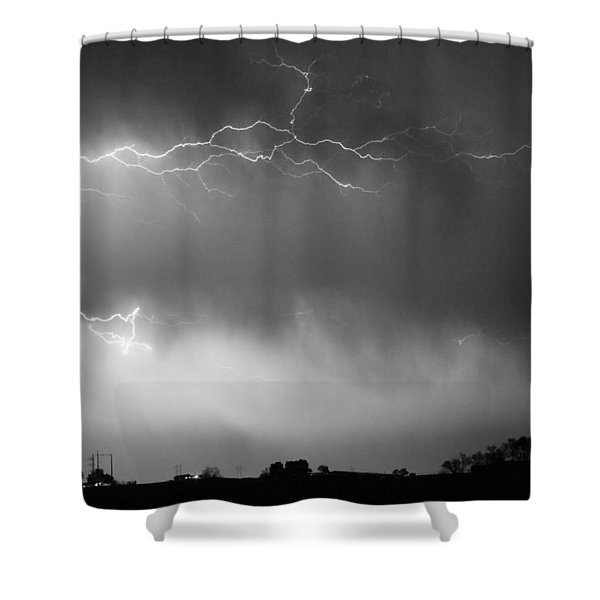 May Showers 2 in BW - Lightning Thunderstorm 5-10-2011 Boulder C Shower Curtain by James BO  Insogna