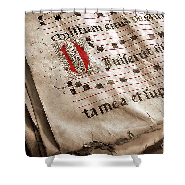 Medieval Choir Book Shower Curtain by Carlos Caetano