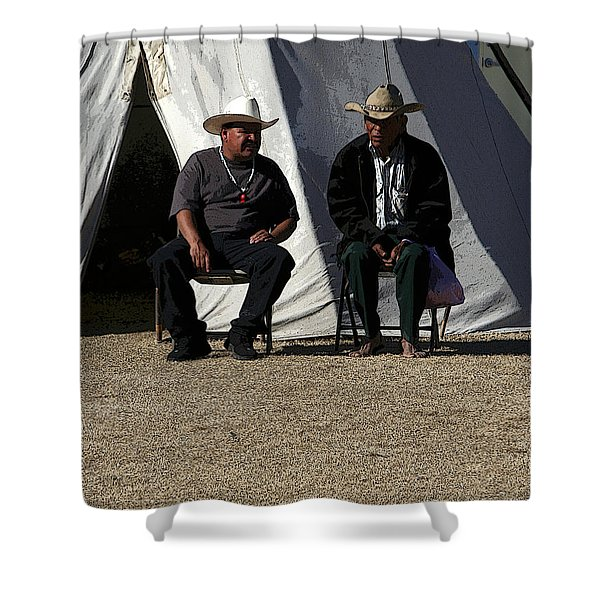 Men Talking Shower Curtain by Joe Kozlowski