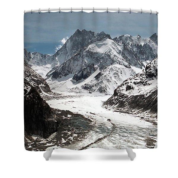 Shower Curtains - Mer de Glace - Mont Blanc Glacier Shower Curtain by Frank Tschakert