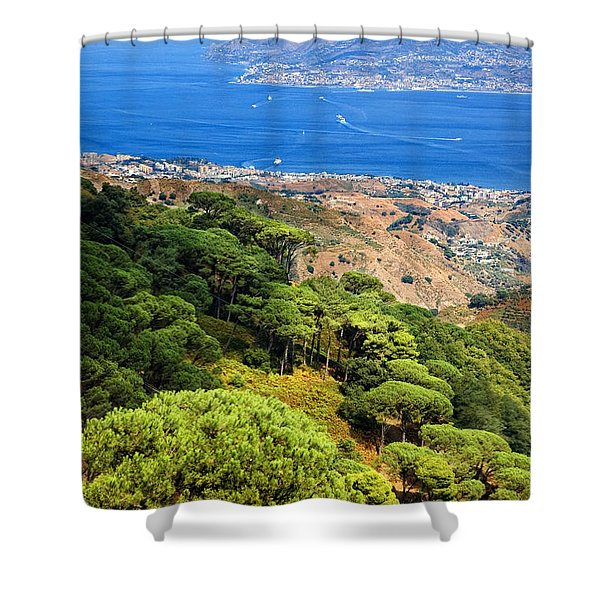 Messina Strait - Italy Shower Curtain by Silvia Ganora
