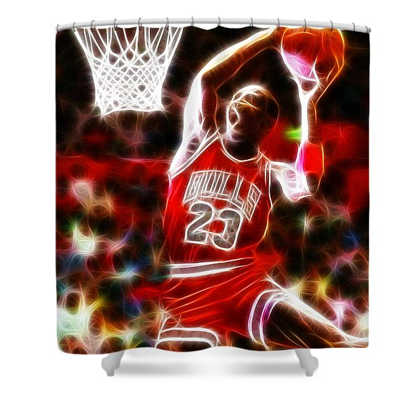 Michael Jordan Magical Dunk Shower Curtain by Paul Van Scott