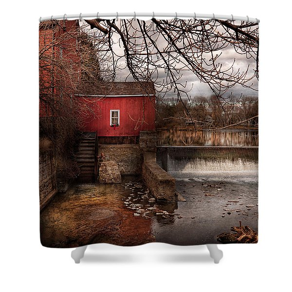 Mill - Clinton NJ - The mill and wheel Shower Curtain by Mike Savad