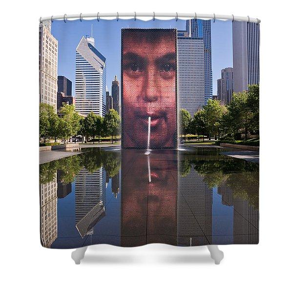 Millennium Park Fountain and Chicago Skyline Shower Curtain by Steve Gadomski