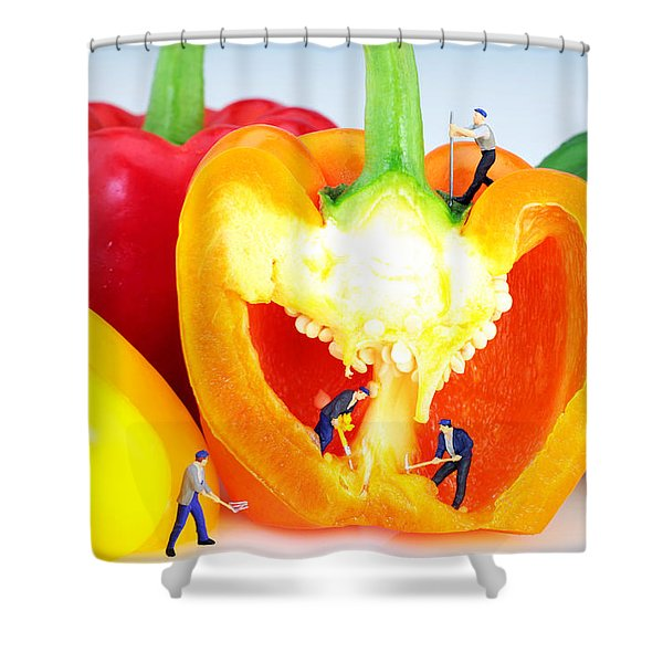 Mining in colorful peppers Shower Curtain by Paul Ge