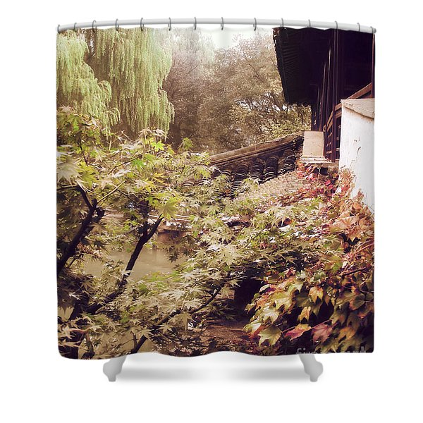 Misty Willows Shower Curtain by Ivy Ho