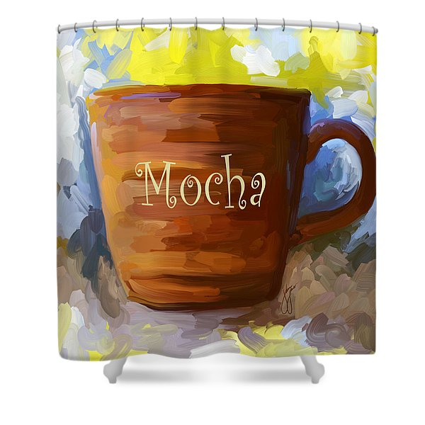 Mocha Coffee Cup Shower Curtain by Jai Johnson