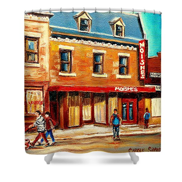 Moishes The Place For Steaks Shower Curtain by Carole Spandau