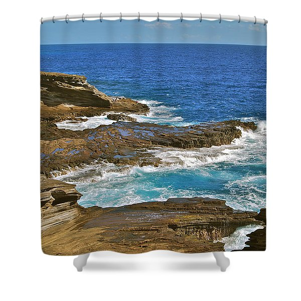 Molokai Lookout 0649 Shower Curtain by Michael Peychich