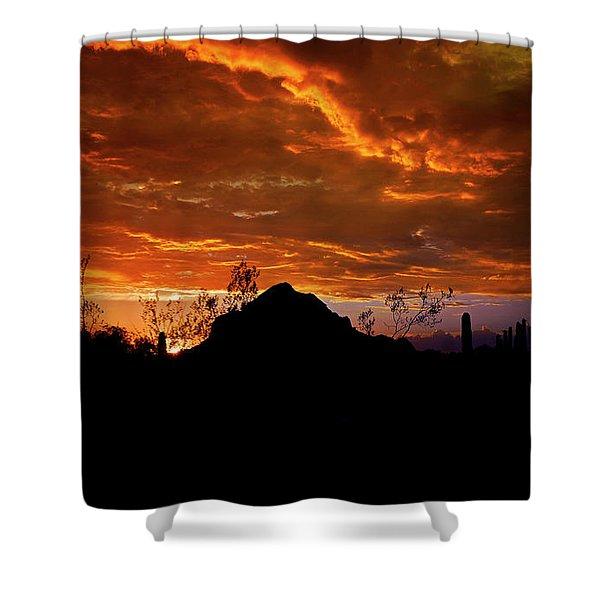 Monsoon Sunset  Shower Curtain by Saija  Lehtonen